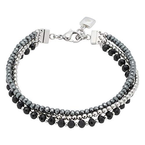 JEWELS BY LEONARDO Damen-Armband Favo, Edelstahl mit facettierten Glas- und Hämatit-Perlen, CLIP & MIX System, Länge 185 mm, 016636