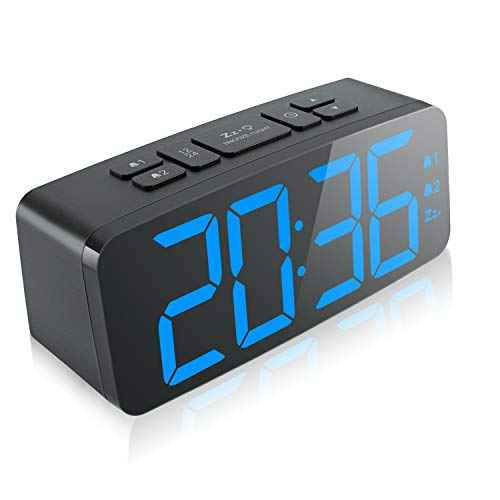 """Digital Alarm Clock, 6.3"""" Large LED Display Digital Alarm Clock with Big Number,6 Level Adjustable Brightness Dimmer and Snooze, Simple LED Clock with Dual Alarm, Powered by AC Adapter (Blue)"""