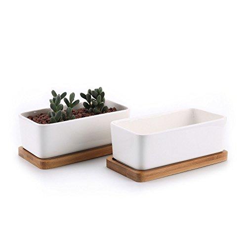 T4U 16.5CM Rechteckig Keramik Sukkulenten Töpfe Kaktus Pflanze Töpfe klein Blumentöpfe mit Bambusuntersetzer Weiß 2er Set
