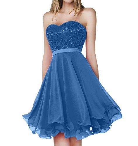 Charmant Damen Blau Spitze Chiffon Abendkleider Jugendweihe Kleider Knielang Brautjungfernkleider Kurz-36 Blau