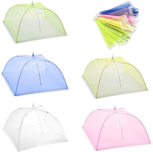 HonLena Fly Cover, 5 Pack Food Cover, Colour Foldable Cake Cover, Fly Umbrella, Food Cover, Perfect Fly Protection for Food, Fruit, Picnic, BBQ, 17 Inch