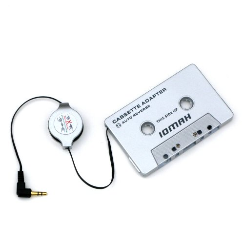 IOMAX Kassettenadapter Einziehbares Kabel - kompatibel mit Smartphones, MP3, CD-Player, Tablets.