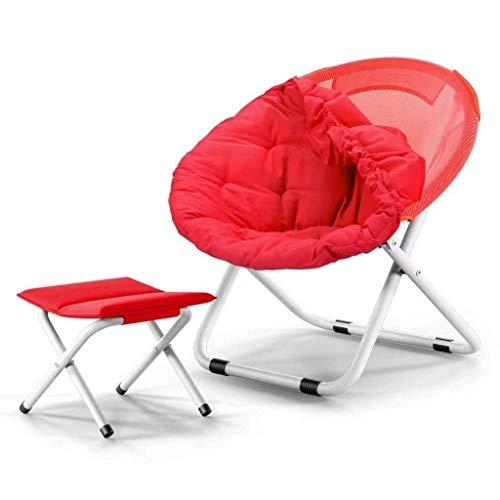 Lazy Sun Outdoor, draagbare klapstoel, voor volwassenen, rond, bank, stoel, Oxford, afneembare stof, katoen, tapijt en opvouwbaar, voetensteun, campingstoel, licht Rood