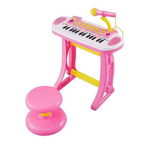 Reditmo Toddler Toy Keyboard, Kids Piano Electronic Organ 31 Keys, with Microphone, Firmer Stool, Educational Toy for 3-6 Years Old Children, Baby, Toddlers, Pink