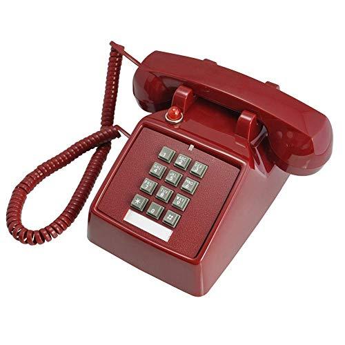 SCJ Dial Retro Trim Phone (teléfono con Cable), Retro Phone Phone Dial Telephone Hotel Business Hotel Escaleras Pasillo Baño Junto a la Cama Línea Fija Fija sin Pilas, Rojo