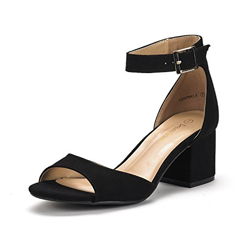 DREAM PAIRS Women's Chunkle Black Suede Low Heel Pump Sandals Ankle Strap Dress Shoes - 9.5 M US