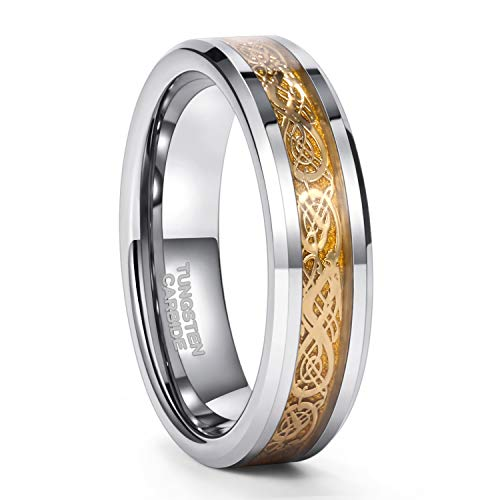 6mm Gold Celtic Dragon Tungsten Carbide Wedding Band Ring Comfort Fit Size 7