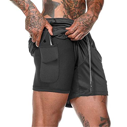 EDOTON Men's Workout Running Shorts, 2-in-1 Quick Drying Breathable Lightweight Built-in Compression Liner Athletic Gym Exercise Training Jogging Short Pants with Back Zipper Pocket (B Black, XL)
