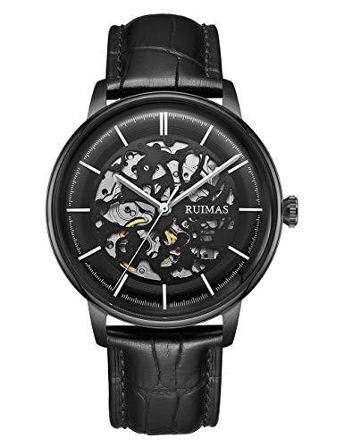 RUIMAS Orologi da uomo, orologi meccanici automatici neri con orologio da polso con design a scheletro in acciaio inossidabile, orologio impermeabile casual per uomo e bambino