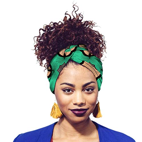 Mengyu Turban de Femmes Africain Traditionnel Cire Imprimé Bandeau Noué Élastique pour Femmes et Filles (Style#22, 12 * 200cm)