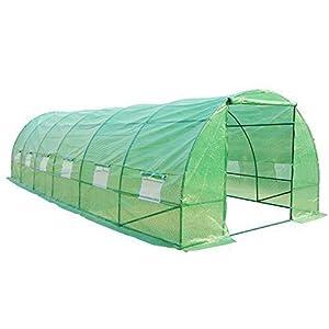 HOMCOM Invernadero 8 Metros 8x3x2metros Acero y PE 140g/m2 Cultivo Plantas Tomates Verduras