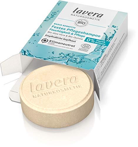 lavera Festes Pflegeshampoo basis sensitiv Feuchtigkeit & Pflege - Shampoo ohne Silikone - zertifizierte Naturkosmetik - sanftes Schaumerlebnis, besonders sanft zur Kopfhaut- 1 Stück / 50 g