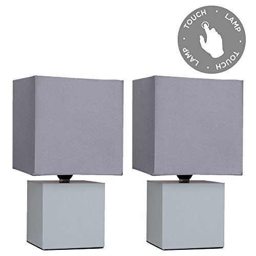 Pair of - Modern Grey Cube Design Touch Dimmer Bedside Table Lamps with Grey Fabric Light Shades