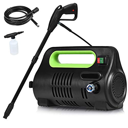 Goplus Compact Pressure Washer Portable High Power Car Cleaning Machine w/Adjustable Nozzle, Spray Gun, Hose Reel, Soap Bottle, 1800PSI / 1.96GPM, 1500W (Green)