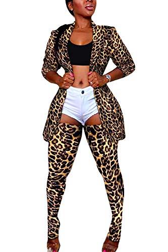 Women's Clubwear 2 Piece Sexy Outfits Leopard Print Long Sleeve Blazer+Skinny Pants Long Stockings Set