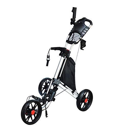 Opvouwbare golftrolley met 3 wielen voor ultieme wendbaarheid, opvouwbare kar in één seconde, inklapbare kar