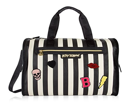 Betsey Johnson Large Nylon Weekender Duffel Bag, Black/White Checks