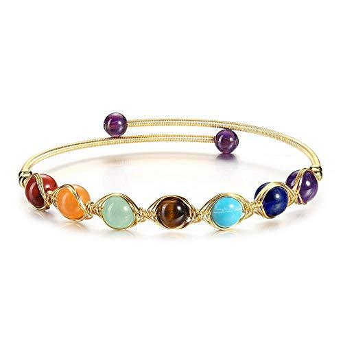 JSDDE 7 Chakra Heilstein Armband partnerarmbänder Paar Armbänder einstellbar Reiki Energietherapie Yoga Armreif Perlenarmband für Männer Frauen (Armreif)