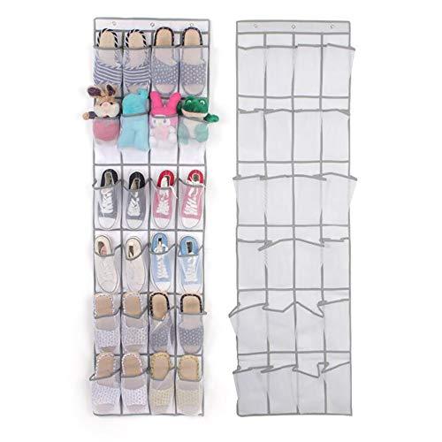 Aufbewahrungsbeutel Schuh Organizer Lagerung 24 Taschen hängen Schuhregale Faltbare Kleiderschränke Tasche mit Haken Regal für Sandalen Hausschuhe Wohnungen für Zuhause (Color : White)