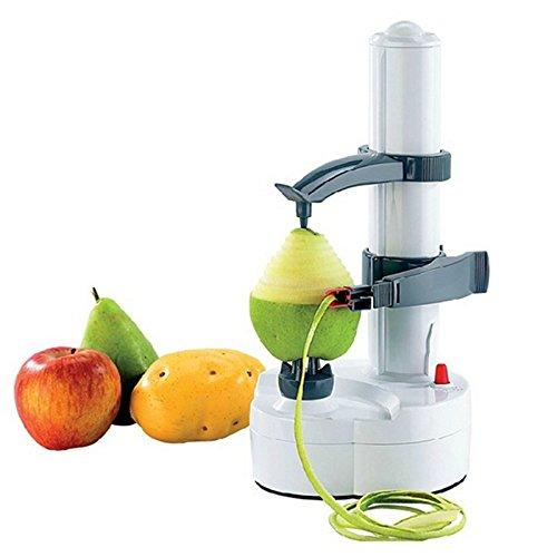 Electric Peeler, Automatic Rotating Apple Peelers Multifunctional Kiwi Fruit Mango Peeling Machine Fruits Vegetable Cutter Kitchen Peeling Tool,White