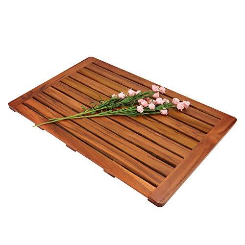 "Utoplike (32""x18"") Teak Wood Bath Mat, Shower Mat Non Slip for Bathroom, Wooden Floor Mat Square Large for Spa Home or Outdoor"