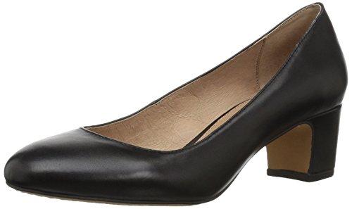 Amazon Brand - 206 Collective Women's Merritt Round Toe Block Heel Pump-Low, black leather, 9 B US
