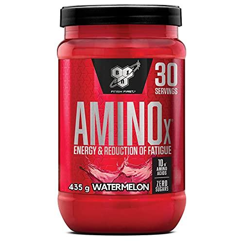 BSN Amino X BCAA Pulver, Zuckerfrei Aminosäuren Komplex Hochdosiert mit Vitamin D, Vitamin B6, Arginin, Taurin und Alanin, Watermelon, 30 Portionen, 435g