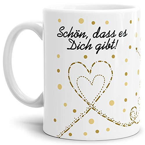 Tassendruck Liebes-Tasse mit Spruch Schön, DASS es Dich gibt - Schatz/Pärchen/Love/Glück/Weiß