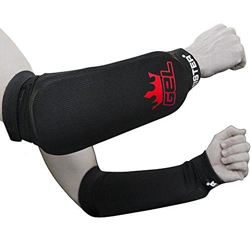 Meister MMA elastischer Unterarmschutz mit Gelpolster - 1 Paar - Schwarz - S/M