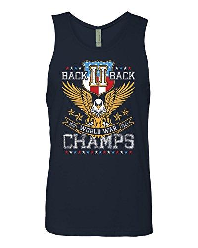 Panoware Men's Patriotic Back II Back World War Champs Tank Top Shirt, Midnight Navy, X-Large