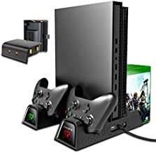 OIVO Vertical Cooling Stand Compatible with Xbox ONE X/ONE S/Regular ONE, Cooler Cooling Fan with 2PACK 600mAh Batteries,Games Storage, Dual Controller Charging Docking Station for Xbox ONE/S/X