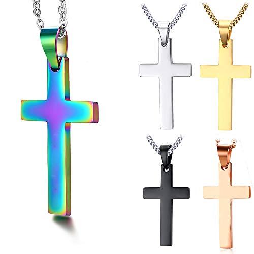 DaMei Colgante Cruz Personalizado para Hombre Mujer Collar da Cruz Acero Inoxidable con Nombre Cruz Religiosa Colgante de Crucifijo Regalo para Hombres/Mujeres(Platato/Nergo/Dorado) (Colorful)
