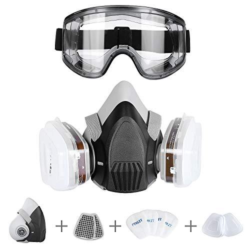 FIXKIT Halb Gesicht Abdeckung wiederverwendbare-Gaz Maske mit austauschbaren Filtern gegen Chemikalien und Staub für Sprühen und Handmalen, Schweißen, Schleifen, Polieren usw