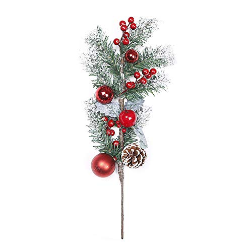 Peciafy 1 PCS Red Berry Stems Pine Branches Evergreen Berries Artificial Pine Cones Branch for Christmas Decor, Crafts, Wreath, Garland or Tree