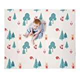 JumpOff Jo – Large Waterproof Foam Padded Play Mat for Infants, Babies, Toddlers, 8+ Months, for Play & Tummy Time, Foldable, 70 in. x 59 in, Double-Sided Design: Woodland Rainbow