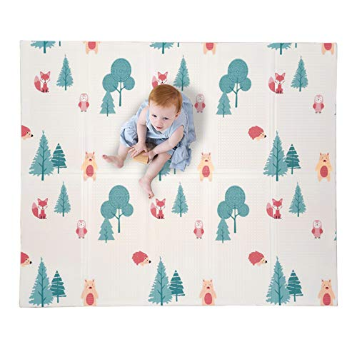 JumpOff Jo – Large Waterproof Foam Padded Play Mat for Infants Babies Toddlers 8 Months for Play amp Tummy Time Foldable 70 in x 59 in DoubleSided Design: Woodland Rainbow