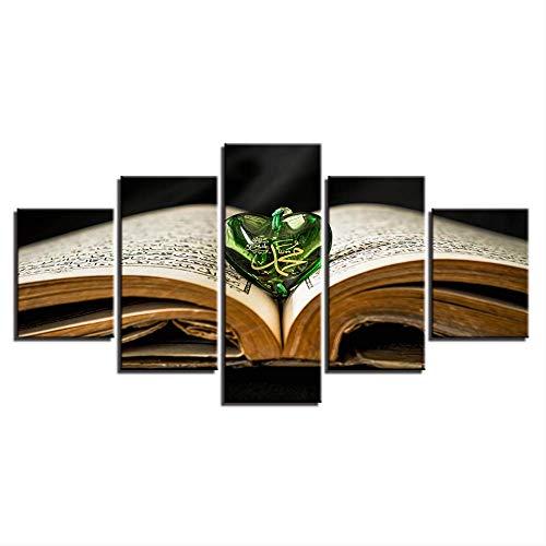 DGGDVP Quadro su Tela Stampe HD Dipinti Arte murale 5 Pezzi Libro Sacro Allah Il Corano Poster Ciondolo Immagini Musulmane Decorazioni per la casa modulari Formato 2 Cornice