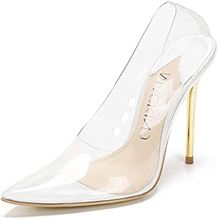 207b9d4cda17 Mackin J 188-7 Transparent Pointed Toe Slip On Stiletto High Heel Pump