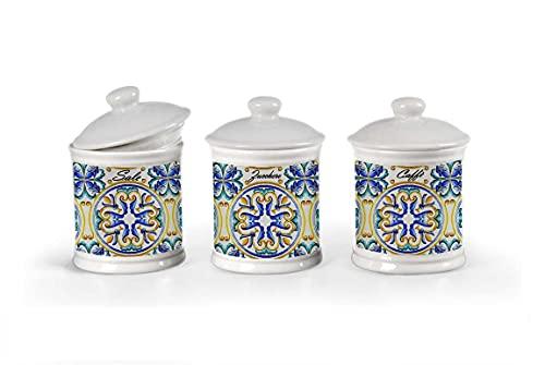 Kasahome Tris di Barattoli in Ceramica stile Amalfi Barattolo Contenitore Sale Zucchero Caffè Casa Cucina 15cm