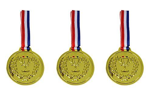 Simba 108612196 - 3 Medaillen zum Umhängen, 3 Goldmedaillen, Rückseite beschriftbar, 6cm, ab 3 Jahren