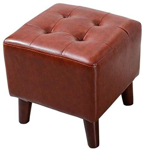 PU cuero Reposapiés Sofá heces Banco de madera del asiento del hogar de la sala Mesa de heces creativo de madera sólida Puerta Cambio Banco de zapatos ( Color : Red-brown , Size : 36*36*40cm )