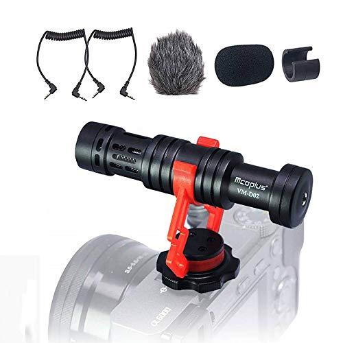 Videocamera Microfono, Venidice VM-D02 Microfono Mini per fotocamera esterno per Canon Nikon Sony DSLR Cam, Videocamera, iPhone, Smartphone Android (360° Rotazione)