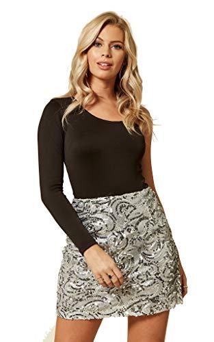 UNIQUE21 Minifalda con lentejuelas para mujer – Faldas de moda para fiesta de noche, cena formal con lentejuelas Lentejuelas plateadas. 38