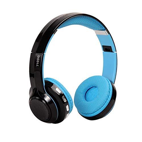Nxsp - LED-Licht Bluetooth-Headset Stereo-Headset HiFi Subwoofer Motion Bluetooth Musik Headset, blau