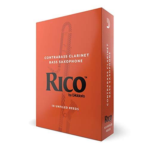 Cañas para clarinete contrabajo Rico, resistencia de 3.0, paquete de 10