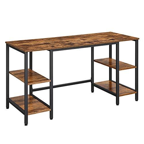 VASAGLE Schreibtisch, Computertisch, Bürotisch mit 4 Ablagen, große Tischoberfläche, Arbeitszimmer, Homeoffice, Industrie-Design, vintagebraun-schwarz LWD54X