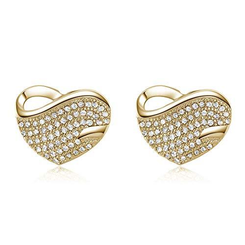 ZRDMN Mikro-Intarsien-Pfirsich-Herz voller Ohrringe Ohrringe vergoldet antiallergische Ohrringe Ohrstecker Ohrhänger Ohrhänger Ohrhänger Schmuck für Frauen Mädchen A