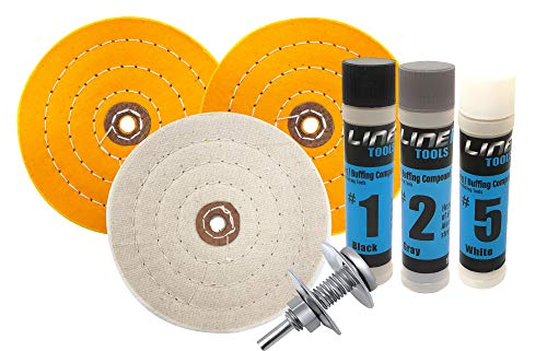6 Inch Buffing Wheel Kit for Bench Grinder and Drill with 3 Step Hard Metal Polishing Compound