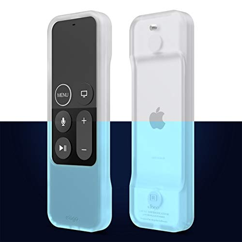 elago R1 Intelli Case Cover Silikonhülle Kompatibel mit Apple TV 4K 4. und 5. Generation Siri Remote Fernbedienung [Magnettechnologie] [Handgelenkschlaufe Inbegriffen] - Nachtleuchtendes Blau