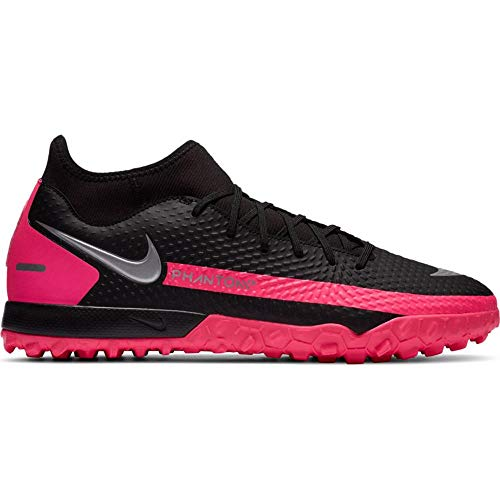 Nike Unisex Phantom GT Academy Dynamic Fit TF Soccer Shoe, Black/Metallic Silver-Pink Blast, 42 EU